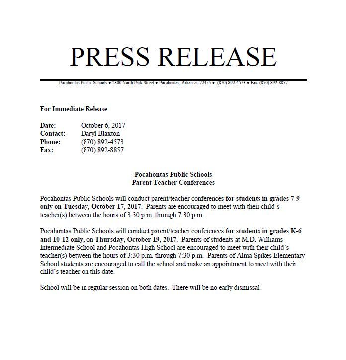 Fall PT Conferences Press Release