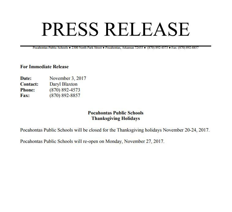 Thanksgiving Break Press Release