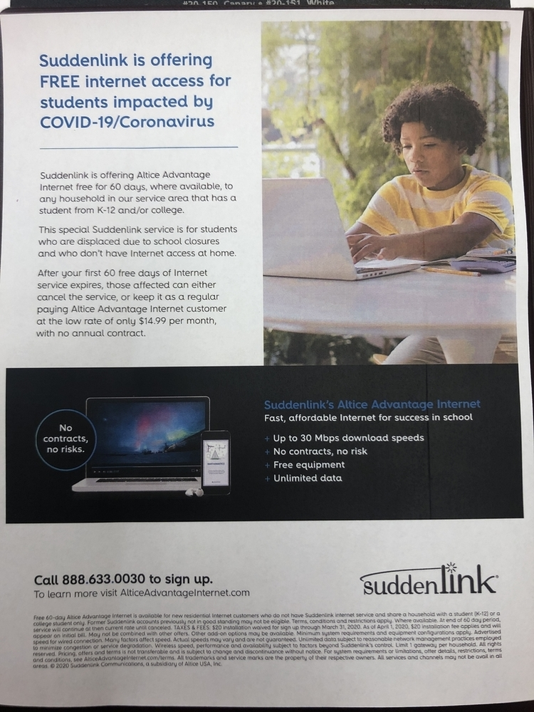 Suddenlink free internet access information