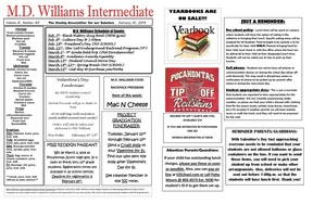 MD Williams Weekly Newsletter 2/1/19