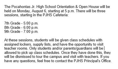 2018-2019 PJHS Orientation & Open House