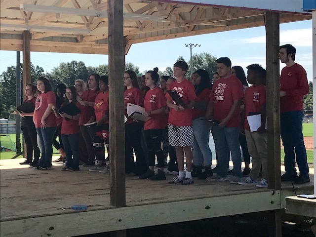 PHS choir performing for the Veterans Ceremony which was hosted this morning by the Randolph County Fair.