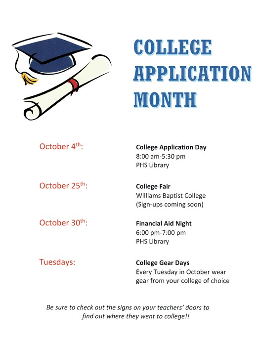 ATTENTION SENIORS !  IT'S COLLEGE APPLICATION MONTH