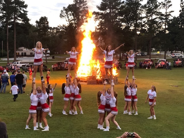 The students had a great time at the Redskin pep rally and bonfire! The cheerleaders and band got everyone fired up as always!