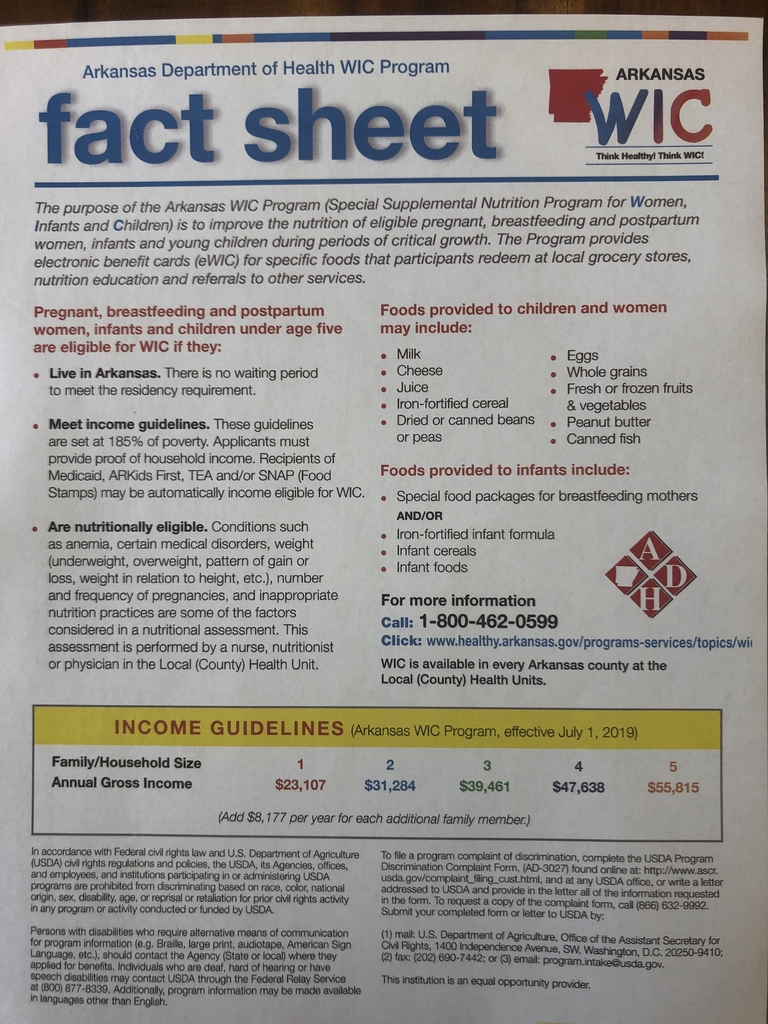 WIC Program fact sheet